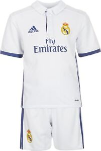 044c54f18 Adidas Real Madrid Junior Kids Home Kit 2016 17 (Shirt   Shorts)