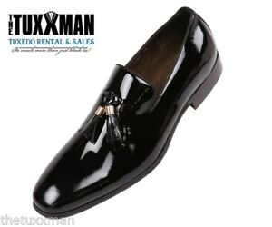 184980a5451 Image is loading Genuine-Patent-Leather-Black-Tuxedo-Shoe-Loafers-Slip-