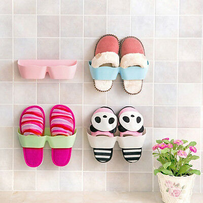 Wall-Mounted Type Living Room Bathroom Shoes Storage Holder Double-Sides Tape DE