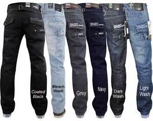 Mens-Enzo-Jeans-Branded-Designer-Regular-Fit-Straight-Leg-Denim-All-Waist-Sizes