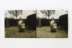 Francia Madre E Bambina Foto Stereo Placca Da Lente Th4L5n12 Vintage