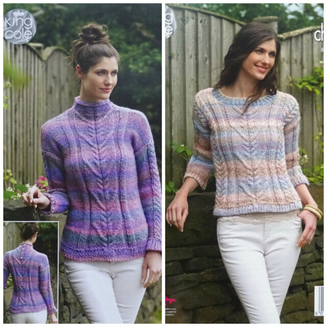 550d64603f00c5 KNITTING PATTERN Ladies Long or 3 4 Sleeve Cable Jumpers Chunky KingCole  4980