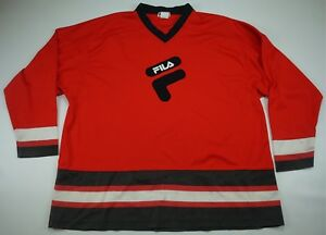 2c35a3b682944 Rare Vintage FILA Spell Out Big OG Logo Mesh Hockey Jersey 90s Hip ...