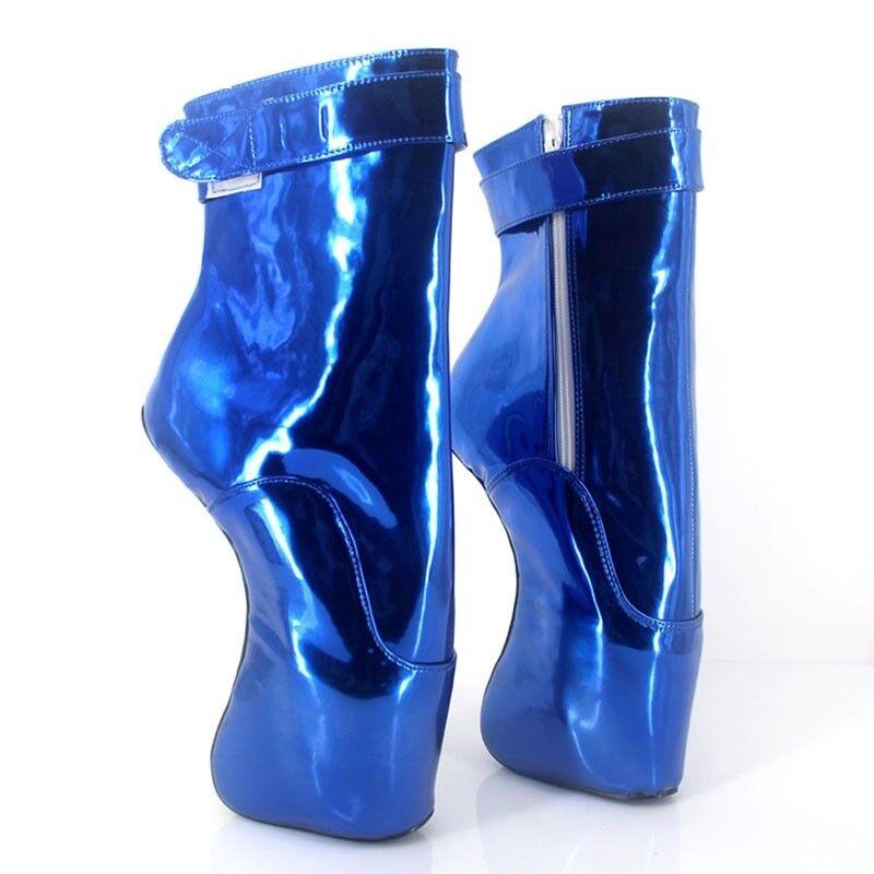 Azul PVC Botas al Tobillo Alto Pony Ballet, Alta Sexy Corsé Boot, cura, 7