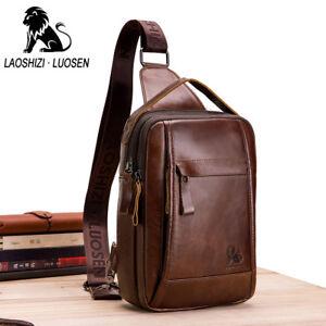 ae05408c681d Lion Men s Genuine Leather Chest Bags Sling Shoulder Sport Bag Cross ...