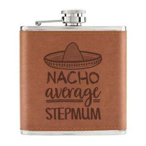 Nacho-Moyenne-Stepmum-170ml-Cuir-PU-Hip-Flasque-Fauve-Worlds-Best-Drole-Awesome