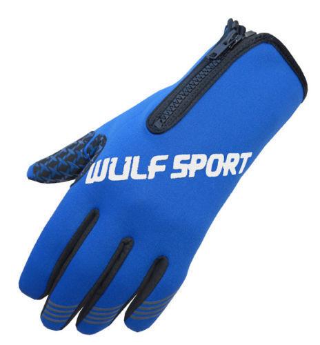 Wulfsport 2018 Zipped Neoprene Motorbike Gloves Windproof Waterproof - Blue