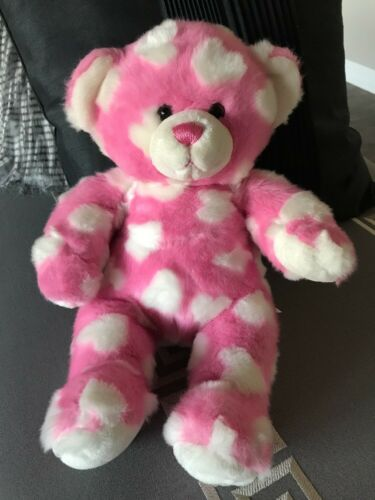 Build A Bear Pink Bear Raised White Hearts Love Valentines Plush Stuffed Toy