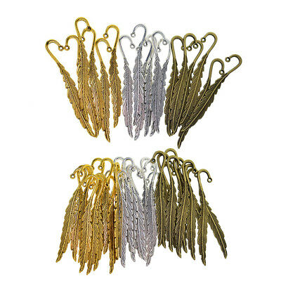 VINTAGE BOOKMARK JEWELRY FINDINGS METAL FEATHER DIY CRAFTS BEADING,10PC
