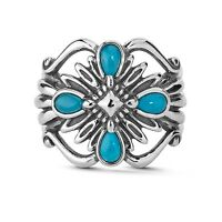Carolyn Pollack Turquoise Rope Design Sterling Silver Ring 7