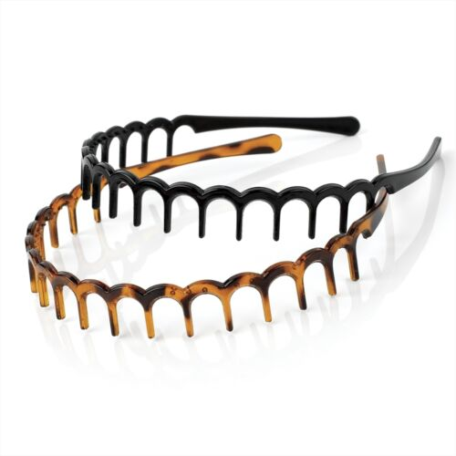 GIRLS BLACK /& BROWN SET 2cm TOOTHED ALICE BAND HEAD HAIR HEADBAND SHARKS TOOTH