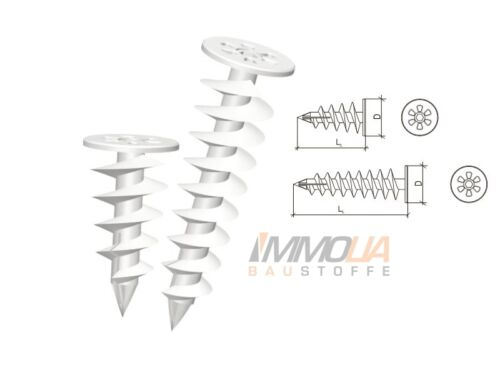 85mm Schneckendübel Dämmstoffdübel Spiraldübel Styropordübel 100 Stk