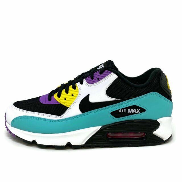 Nike Air Max 90 Essential Black Violet Yellow White Aj1285 024 Men Size 10