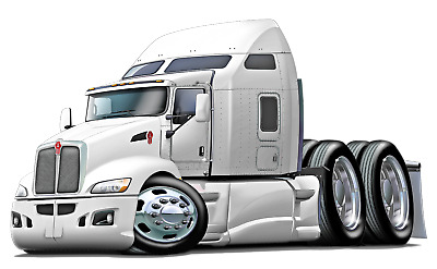 Peterbilt Big Rig Semi Truck Cartoon 3 Sizes Decal Wall Graphic Man Cave Decor