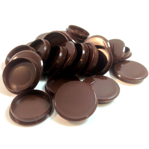 35mm BROWN PLASTIC HINGE HOLE COVER CAPS FOR KITHCEN CABINET CUPBOARD DOORS