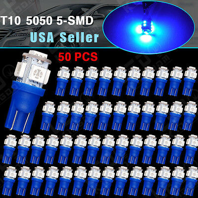 50 PCS Ultra Blue T10 192 194 Wedge 5SMD 5050 LED Light Dome Map Interior Bulbs