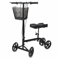 Steerable Foldable Knee Walker Scooter Turning Brake Basket Drive Cart Black