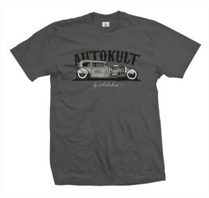 T-Shirt-Autokult-Rockabilly-Kustom-Hot-Rat-Rod-Flathead-V8-US-Car-grau