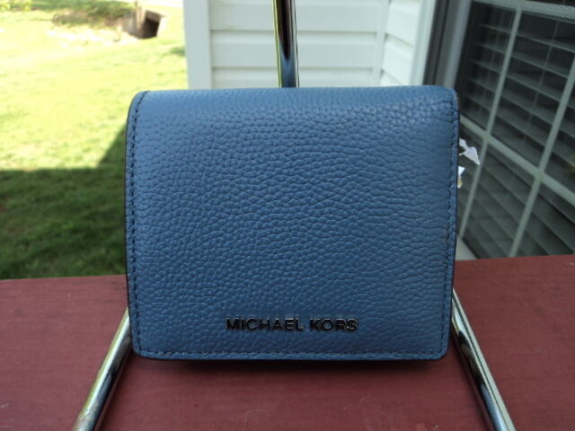578cf908e040 Authentic Michael Kors Mercer Carryall Card Case Wallet Denim Pebbled  Leather