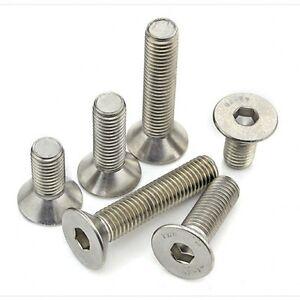 A2 304 Stainless Steel 5mm Allen Key Bolts Flat Head Socket Cap Screws M5
