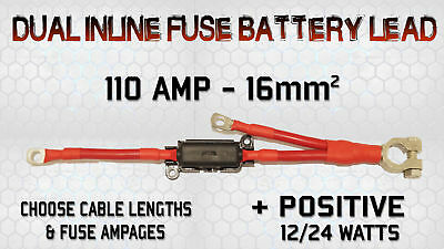 110 Amp Live Dual Battery Link Lead Cable Strap With Built-in Inline Fuse