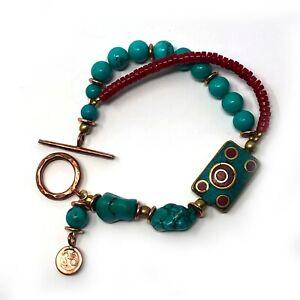 Turquoise-Coral-Bracelet-7-034-Om-Copper-Throat-Chakra-Healing-Yoga-Reiki-BRC01