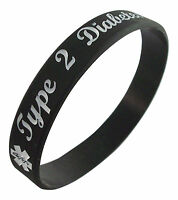 Type 2 Diabetes Medical Bracelet Silicone Rubber Diabetic