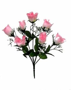 84-TWO-TONES-PINK-Silk-Roses-Buds-Wedding-Bouquet-Flowers