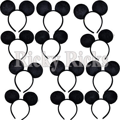 10 Mickey Mouse Ears Minnie Headbands Party Costume Favors Girls Boys Plush