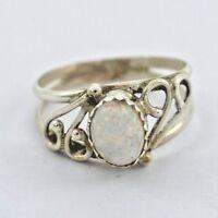Navajo Vintage Handmade Sterling Silver Opal Ring