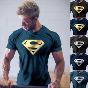 Men-NEW-Superman-Workout-Gym-T-Shirt-Bodybuilding-Fitness-Muscle-Casual-Tee