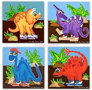 Image Is Loading Dinosaur Wall Art Paintings Kids Bedroom Play Room