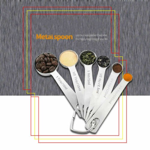Free shipping 1 PC Stainless Steel Measuring Spoons 6 set cooking Tool Hot Sale