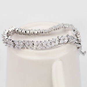 Details About Tennis Diamond Bracelet 14 White Gold Toned Women S Wedding Size 7 5