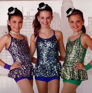 NWT Sequin Dance Costume 3 Colors Girls/Adult sizes Mini topper incl Sequinskirt