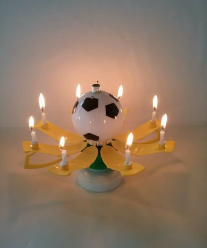 MAGICAL BIRTHDAY CANDLE TROPHY SOCCER BALL STYLE YELLOW  Buy form USA Distribu