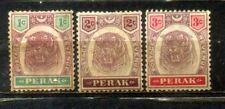 "FMS Malaya Malaysia Perak 1895-99 Old ""Tiger"" Stamps 1c to 3c MH CV Rm 27"