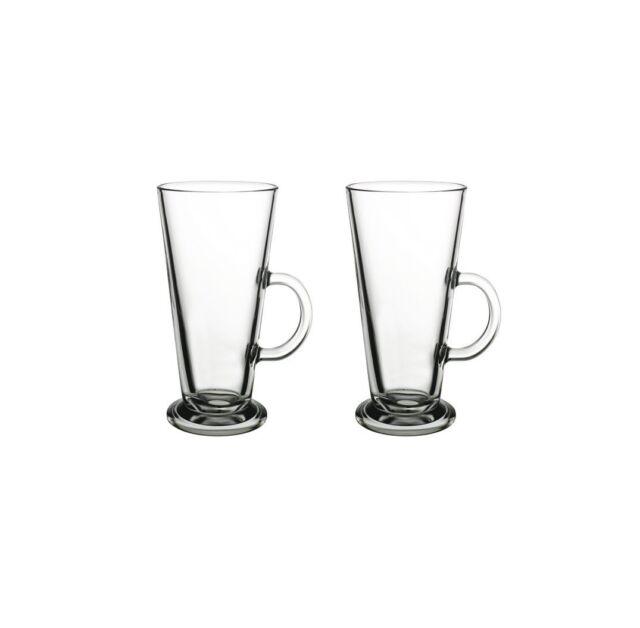 2 piezas Latte Macchiato Gafas Tazas de café con asa CRISTAL 455cc