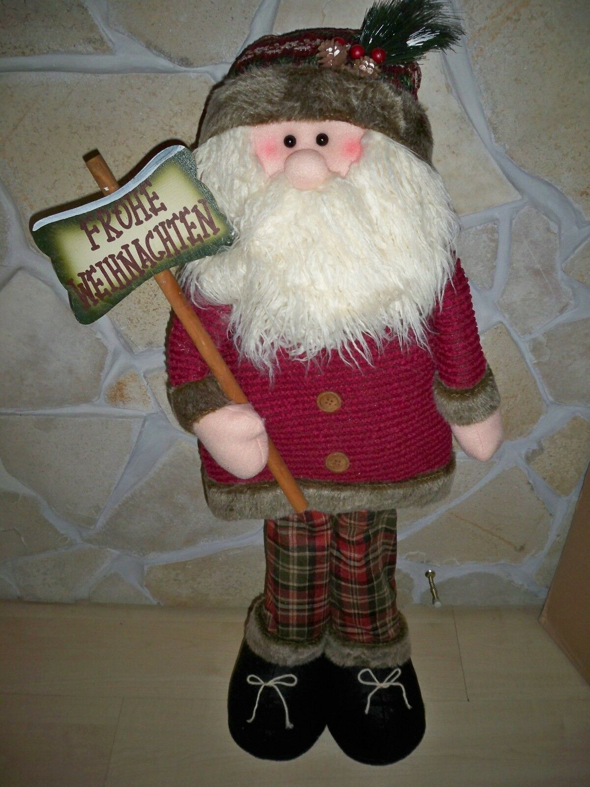Dekofigur santa Harry extra grand H 110 CM. bois, coton, polyester