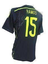 SERGIO RAMOS SIGNED SPAIN WORLD CUP FOOTBALL SHIRT 2014 + *COA*