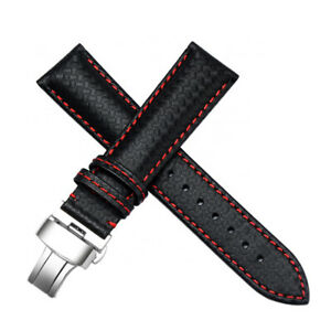 19MM-BLACK-RED-CARBON-FIBER-LEATHER-WATCH-BAND-STRAP-MADE-FOR-TISSOT-T171186A
