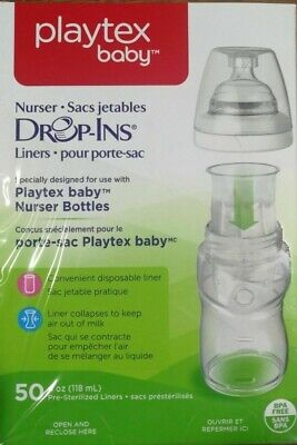 PLAYTEX BABY NURSER DROP-INS BABY BOTTLE DISPOSABLE LINERS 50 LINERS 118 ML 4 OZ