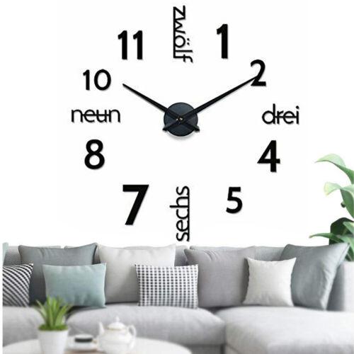 Wanduhr Deko Spiegel Wandtattoo 3D Disign Wand Uhr Wohnzimmer XXL Schwarz 3D