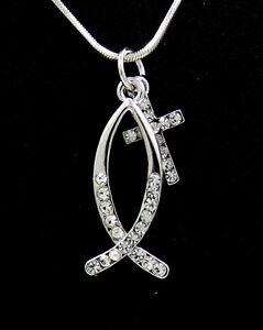 Christian fish symbol cross austrian crystal pendant for Christian fish necklace