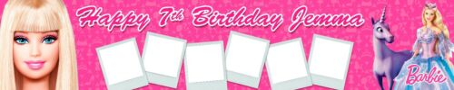 BARBIE PERSONALISED BIRTHDAY BANNERS PACK OF 2 WITH PHOTOS