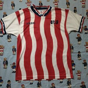 VTG-1994-Adidas-Team-USA-Soccer-Jersey-MEDIUM-Red-White-World-Cup-Leonel-Alvarez