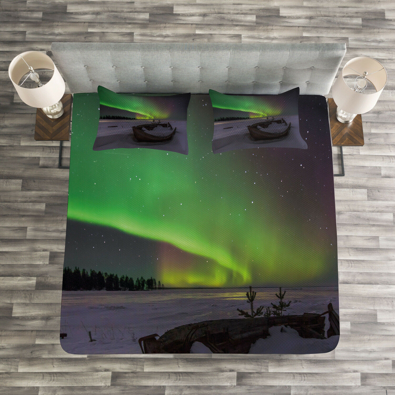 Aurora Borealis Quilted Bedspread & Pillow Shams Set, Boat and Galaxy Print