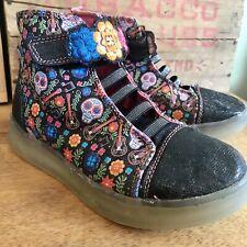 Disney Girls Coco Black Skulls High-Top Light-Up Sneaker