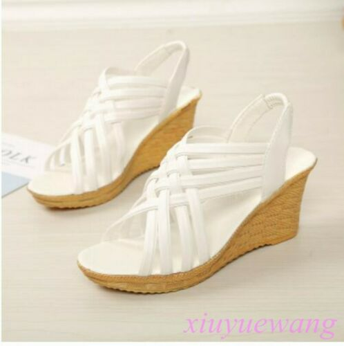 Womens Slip Ons Slippers Shoes Hollow Out High Wedge Heel Open Toe Sandals Size