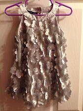 Biscotti Dress Baby Girl 18 Months Silver Floral 3D Petals Bids Satin Wedding